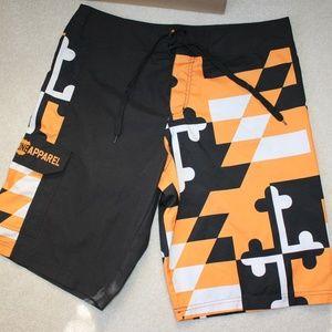 Men's swim trunks - Orange and Black